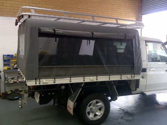 Toyota Land Cruiser Black Canvas Canopy